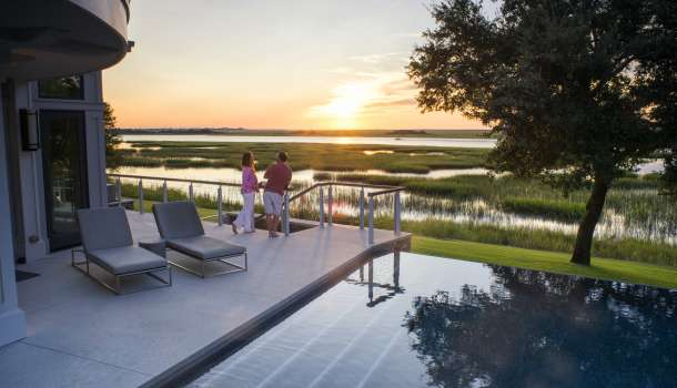 Couple overlooking Intracoastal Waterway at SUnset
