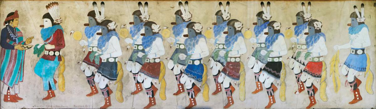 A young Harrison Begay focused on his Navajo tribe's Yeibichai dancers in one of the Maisel murals, New Mexico Magazine
