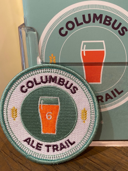 An embroidered Ale Trail patch you receive after visiting 4 stops on the Columbus Ale Trail