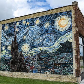 The Starry Night mural outside DeBerge's
