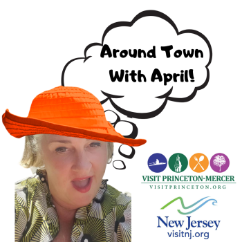 April Sette in an Orange hat with a talk bubble saying Around Town with April
