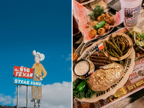 collage of an exterior shot of the big texan and a plate of food with steak and sides