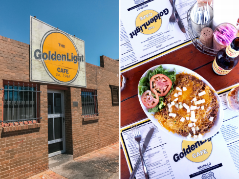 Collage of the exterior of the GoldenLight Cafe and a frito pie plate called the flagstaff pie