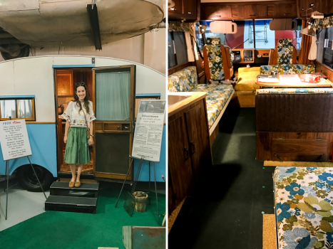 Collage of classic antique RVs in the Sisemore RV Museum