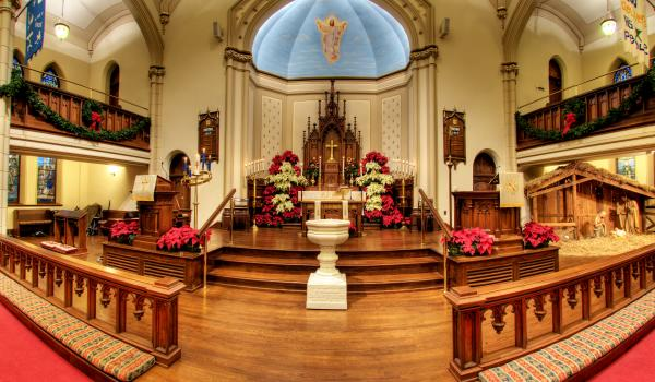 Inside of a church decorated for Christmas during the Historic Houses of Worship