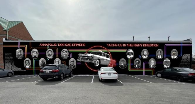 Artist rendering of taxi Cab Mural in Annapolis.