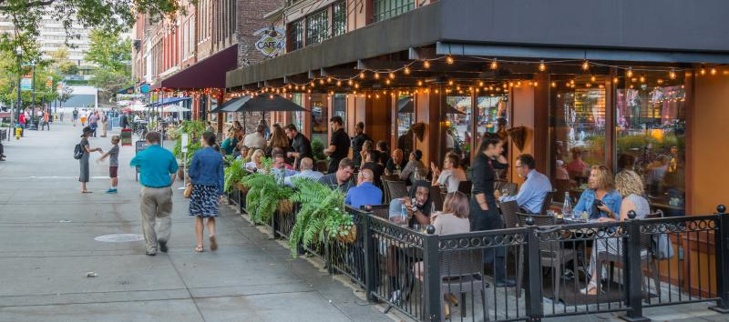 Knoxville's downtown cafes are thriving with a robust range of clientele and outdoor seating