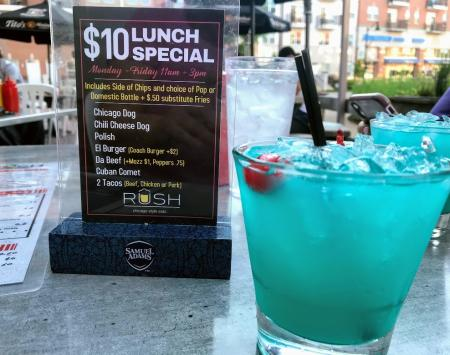 Enjoy Rush Punch outdoors on the patio at Rush Off Main in Brownsburg