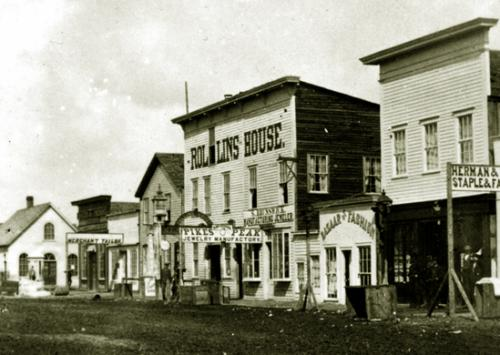 Vintage photo of 16th street, circa 1868, Cheyenne, Wyoming