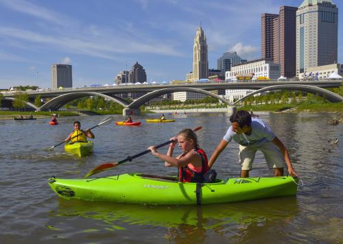 Children Kayak at Scioto River