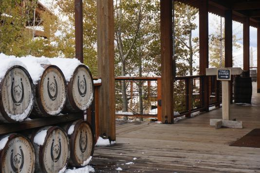 High West Whiskey Barrels covered in snow