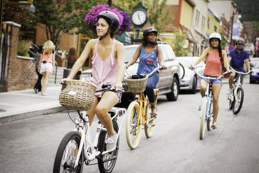 Group Bike Outing on Park City's Historic Main Street