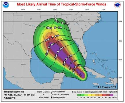 Tropical Storm Ida Update   Friday, August 27 at 1PM
