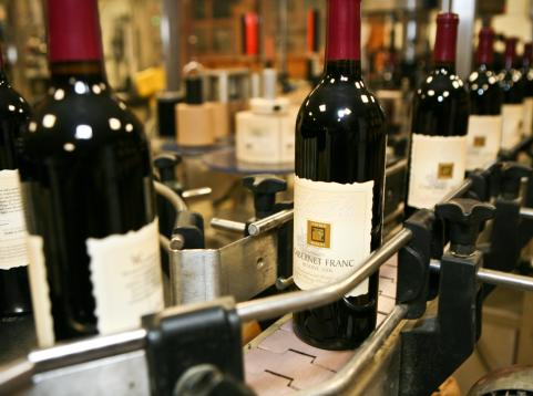 Bottles of Cabernet Franc being produced at Lynfred Winery in DuPage County, IL