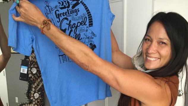 Chela Tu holding Graduate T-shirt