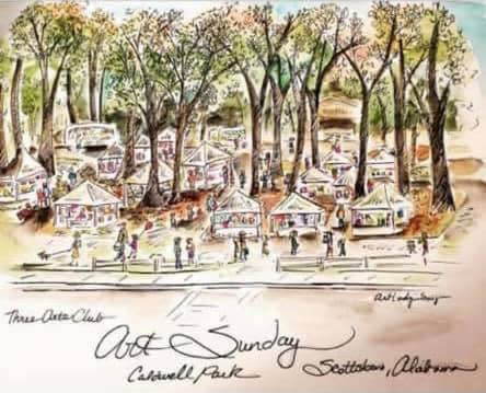 Drawing of a wooded area with tents and people representing Art Sunday in Scottsboro, Alabama