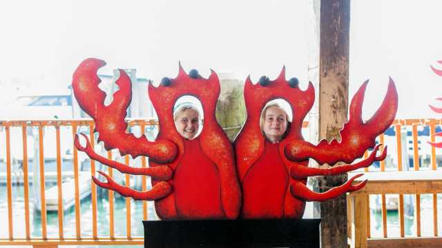 Kids Face in Lobster Cutout on Bowen's Wharf