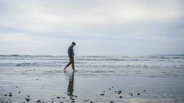 Walking along Second Beach