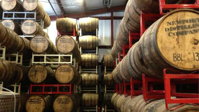 Newport Distilling barrels in warehouse