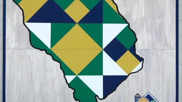 Barn Quilt with Blue, Green and Yellow