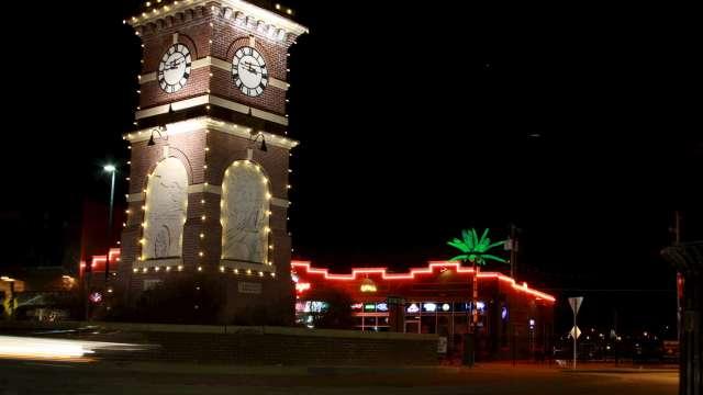 Delano Clock Tower at Christmas