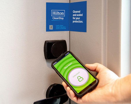 Hilton Clean Stay touchless entry using smart phone