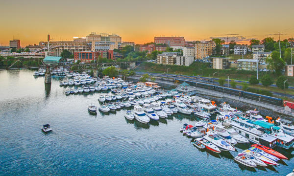 Marina with boats at dusk in Knoxville, TN