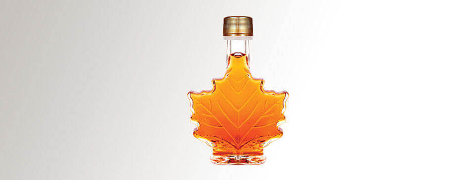 maple syrup in maple leave bottle
