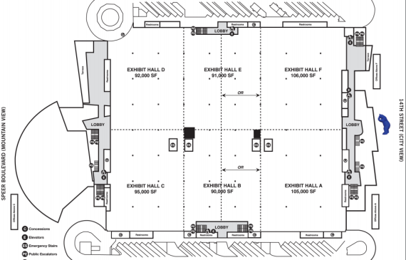 map denver convention center Exhibit Level Of The Convention Center Visit Denver map denver convention center