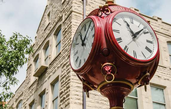 Red Clock Tower in Downtown Bloomington