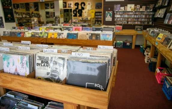 Display of vinyl records at Landlocked Music