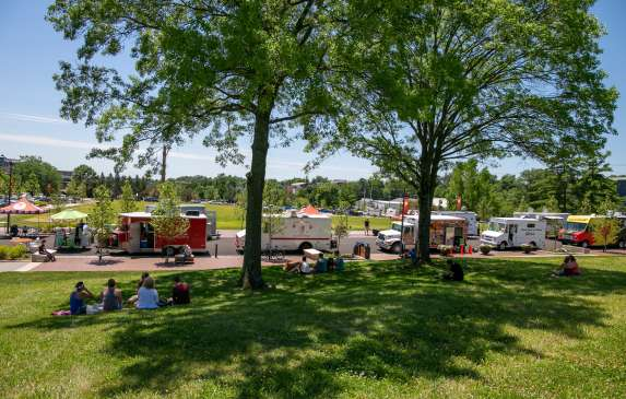 Food trucks lined up for Food Truck Friday