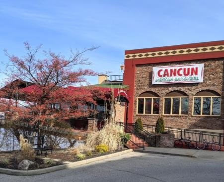 exterior photo of cancun mexican restaurant and bar in newport kenutcky across the ohio river from downtown cincinnati