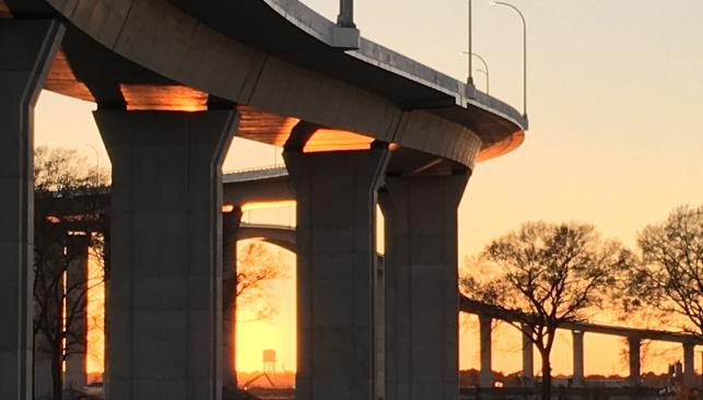 View from below the South Norfolk Jordan Bridge at dusk