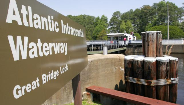 Great Bridge Lock Sign: Atlantic Intracoastal Waterway in Chesapeake VA