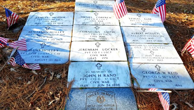 Unknown & Known Afro-Union Civil War Soldiers Memorial Grave Site with American Flags