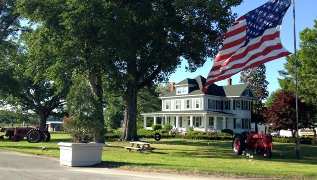 Flag & Yard in front of house at Greenbrier Farms