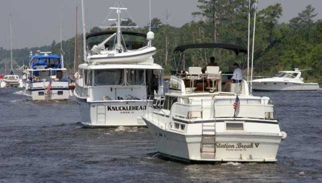 Boats lined up on the Atlantic Intracoastal Waterway in Chesapeake
