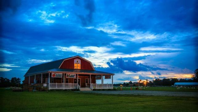 Farm house at Mount Pleasant Farms at sunset