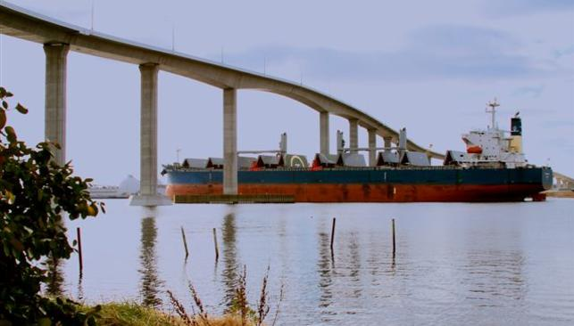 Cargo Ship Passing Under South Norfolk Jordan Bridge