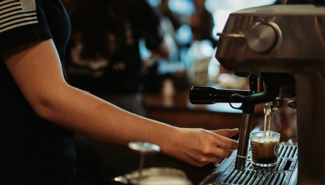 Barista preparing an espresso at Pale Horse Coffee in Chesapeake, VA
