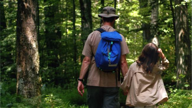 Father and daughter hiking, Laurel Hill State Park