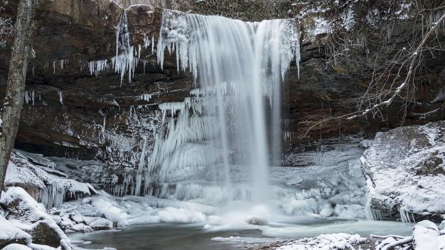 Cucumber Falls during Winter
