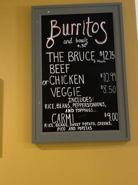 Bay Burrito Menu