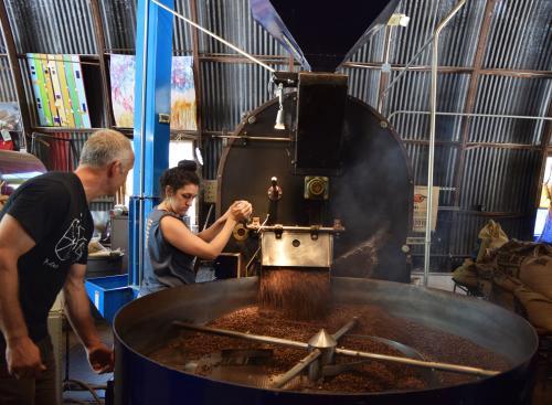 Jittery Joes roasting coffee