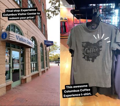 The end of the Coffee Trail means redemption and a t-shirt from the Experience Columbus Visitor Center.