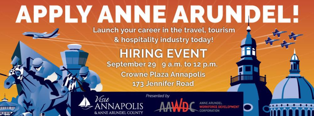 Anne Arundel County Hiring Event. September 29th, 2021 at Crowne Plaza in Annapolis