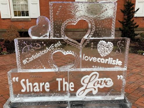 Love ice sculpture at the Carlisle Ice Art Festival