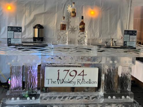The Whiskey Rebellion ice sculpture display at the Carlisle Ice Art Festival