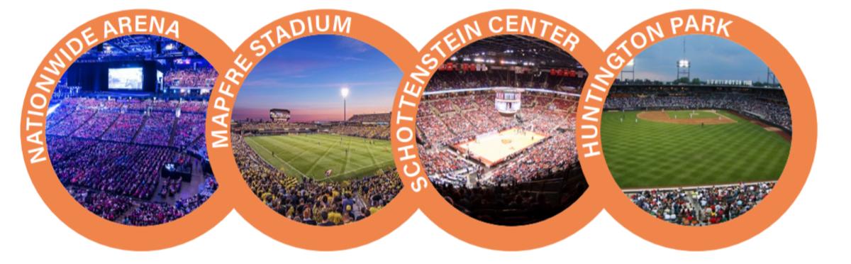 Nationwide Arena, Mapfre stadium, Schottenstein Center, Huntington Park
